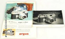 ARGUS C-4 CAMERA MANUAL AND LITERATURE SET OF 2