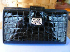 BRIGHTON NWT TWIST LARGE PATENT BLACK LEATHER WALLET
