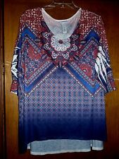 NEW Catherines 5X Red Blue Ombre Sublimation Print Polyester Knit Tunic Top