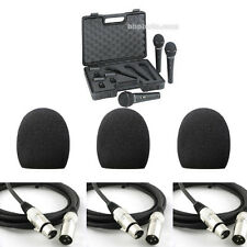 3 Behringer XM1800S Dynamic Microphones w/ 3 Foam Windscreens and 3 XLR Cables