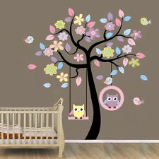 Owls on Swing Colourful Tree Wall Stickers Decal Baby Mural Paper Home Art Decor