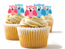 ✿ 24 Edible Rice Paper Cup Cake Toppings, Cake decs - Owl couple ✿