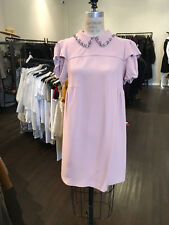 Miu Miu Sz 40 Dusty Pink Crepe Shift Rhinestone Collar Dress