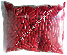 1000 EMPTY gel GELATIN CAPSULES ~SIZE 0 ~ Colored Red (Kosher)