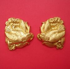 Bird and Flowers Raw Brass Stamping Jewelry Findings no Hole.(2)