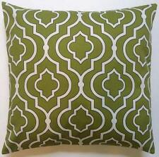 Throw Pillow Sham/Cover for 16x16 Insert Green & White Lattice/Geometric Fabric