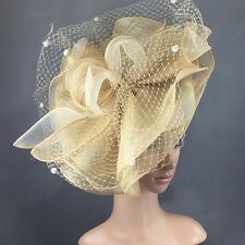 NEW Church Kentucky Derby Champagne Gold Fascinator  Dress Wedding Tea Party