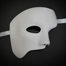 Men's  White Half Masquerade Mask, Phantom of the Opera Venetian Mardi Gras