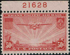 #C22 TOP PLATE #216281937 50c CHINA CLIPPER AIRMAIL ISSUE MINT-OG/NH