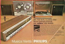 Pubblicità Advertising Werbung 1971 PHILIPS sintoamplificatore RH 702