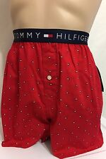 Tommy Hilfiger Button Fly Woven Boxer Medium (32-34) Red   (5566)