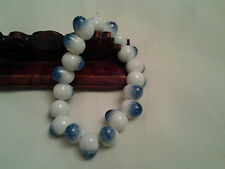 white & blue colour hand made porcelain with crystal looks elastic bracelet