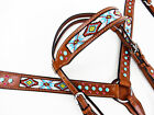 TURQUOISE NAVAJO BEADED WESTERN HORSE LEATHER HEADSTALL BRIDLE BREASTCOLLAR TACK