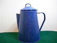 Vintage Blue Enamel Coffee Pot  Stove Top/Camping Or Show