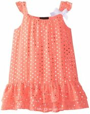 GIRLS RULE Toddler Girl 3T Neon Coral Foil Dot Chiffon Float Dress with Bow NWT