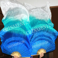 PAIRS 1.5M HAND MADE BELLY DANCE SILK FANS Sapphire blue to blue to white 362