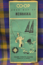 Vintage 1940 NEBRASKA CO-OP Road Map Consumers Cooperative Assoc-Kansas City