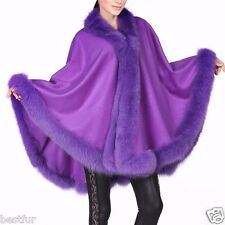 Violet Cashmere Cape Wrap Shawl with Fox Fur Trim New