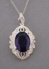 925 Sterling Silver Sapphire Blue & Crystal Cubic Zirconia Necklace Jewelry NEW