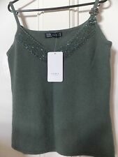ZARA EMBROIDERED TANK TOP BLOUSE SHIRT  WOOL/ANGORA BLEND DARK GREEN SIZE M BNWT