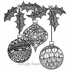 Zentangle Christmas Ornaments Cling Unmounted Rubber Stamp MAGENTA C44013-Q NEW
