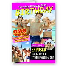 Personalised Photo. Name & Any Age OMG Special Magazine Theme A5 Birthday Card