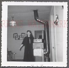 Vintage 1957 Snapshot Photo Pretty Girl Camera Surprise Unusual Interior 686655