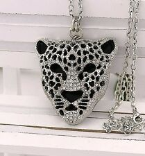 N184 B  Betsey Johnson Black Lion King Cub Simba Leopard Cat Kitty Necklace US