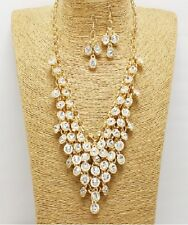 Gold and Crystal Cluster Necklace Set