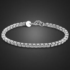 Wholesale 925 sterling silver filled bracelet 4mm box chain Fashion jewelry