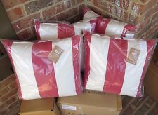 "4 NWT Pottery Barn Sunbrella Stripe outdoor 18"" pillows Jockey Red cherry awning"
