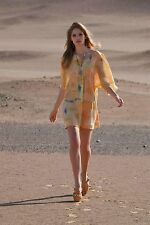 Anthropologie Maeve Dress Womens Painted Ume Tunic Watercolor Yellow Peach Silk
