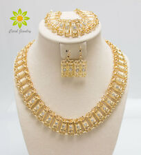 Fashion African Costume Women Rhinestone Bridal Wedding Party Golden Jewelry Set