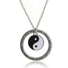 1x Yin Yang BFF Pendant Necklace Black/White Couple Sister Friendship Jewelry