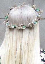 Echte Getrocknete Blatt Braun Weiß Beeren Stirnband Girlande Kranz Haar-krone