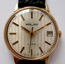 Nice Old Mechanical Russian Wrist Goldplated  POLJOT watch 2614 - New band