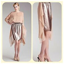 new $295 dkny rose gold sequin silk  dress skirt M