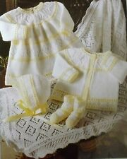 Baby Matinee Coat Knitting Pattern Vintage Dress Bootees Bonnet Shawl L1075