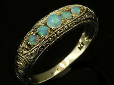 R078- SOLID 9K Gold NATURAL Opal 5-stone Etched ETERNITY Wedding Ring size N