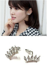 New Fashion Charm Crystal Leaf Drop Eyelash Camber Cuff Clip Earring No Ear Hole