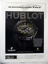 PUBLICITE-ADVERTISING :  HUBLOT Big Bang Ferrari (2)  2014 Kronometry,Montres