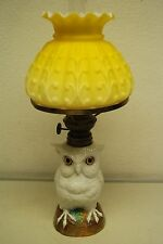 ANTIQUE PORCELAIN CERAMIC KEROSENE OIL OWL DRESDEN MEISSEN FRENCH FIGURINE LAMP