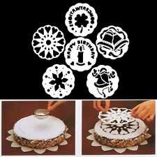 6PCS Christmas Bell Flowers Candle Cake Stencil Mold Baking Tools