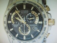 CITIZEN ECO-DRIVE MEN'S WATCH ALARM CHRONO ALL S/S PERPETUAL CAL AT4004-52E NEW
