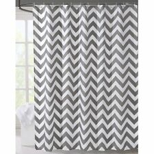 LanMeng Geometric Fabric Shower Curtain, Grey Chevron Off White  72-by-78 inches