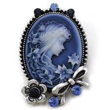 Ribbon Flower Antique Vintage Inspired Blue Cameo Brooch Pin Charm Rhinestone u1