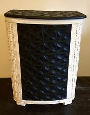 VTG WICKER WOOD METAL FRAME FOOTED BLACK WHITE CLOTHING LAUNDRY BASKET HAMPER