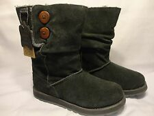 Women's Skechers Australia Warm Cozy Gray Suede Boots Size 7 Faux Fur Lined