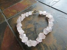 Vintage STERLING Nugget CHUNKY ROSE Quality Stone QUARTZ NECKLACE 16.5 ""
