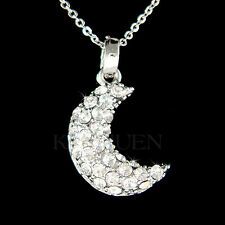 w Swarovski Crystal ~CRESCENT MOON Luna Holy Islamic Hopes Wishes Charm Necklace
